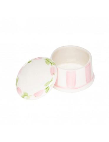 Hand-Painted Round Ring Box-Pink