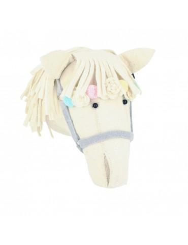 Cream Flower Horse Head Wall Mount